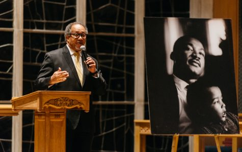 Civil rights activist Benjamin Chavis Jr. speaks at an annual vigil honoring the legacy of Martin Luther King Jr. Chavis said King was a leader who willingly helped others despite his high-profile status