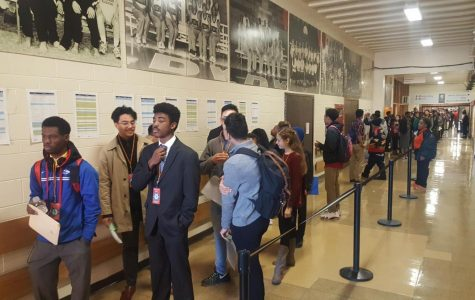 Students line up at youth job fair run through Evanston. The Workforce Development Program expands on the Mayor's Summer Youth Employment Program, extending opportunities to adults.