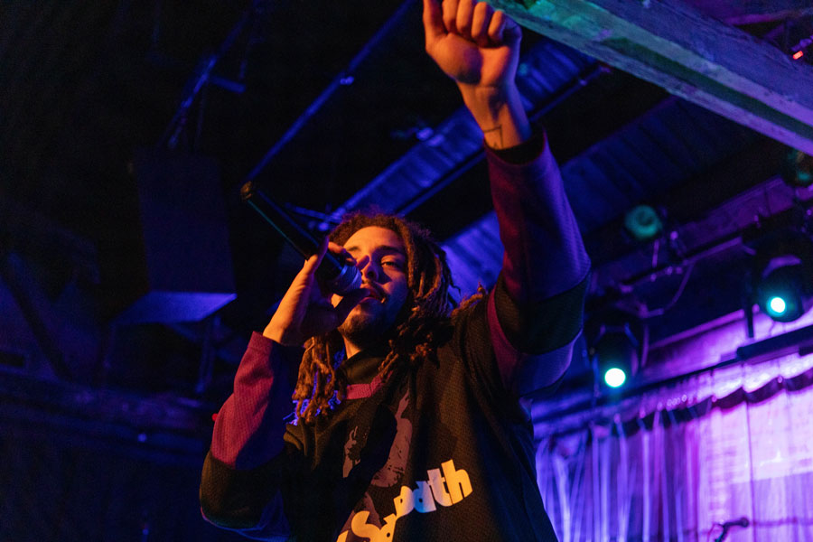 """Rapper Kweku Collins performs at A&O's Chicago Benefit on Thursday. A&O chose local talent to """"celebrate the Chicago music scene."""""""