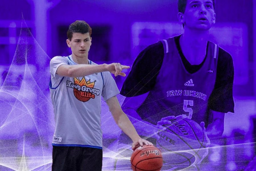Robbie Beran dribbles the basketball. The incoming freshman is the best recruit NU has ever signed.