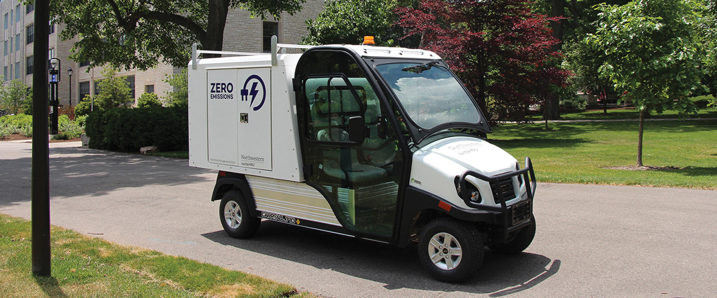A Northwestern electric vehicle. Northwestern intends to reduce its greenhouse gas emissions by 30 percent from its 2012 base line by 2030 and achieve net zero emissions by 2050.