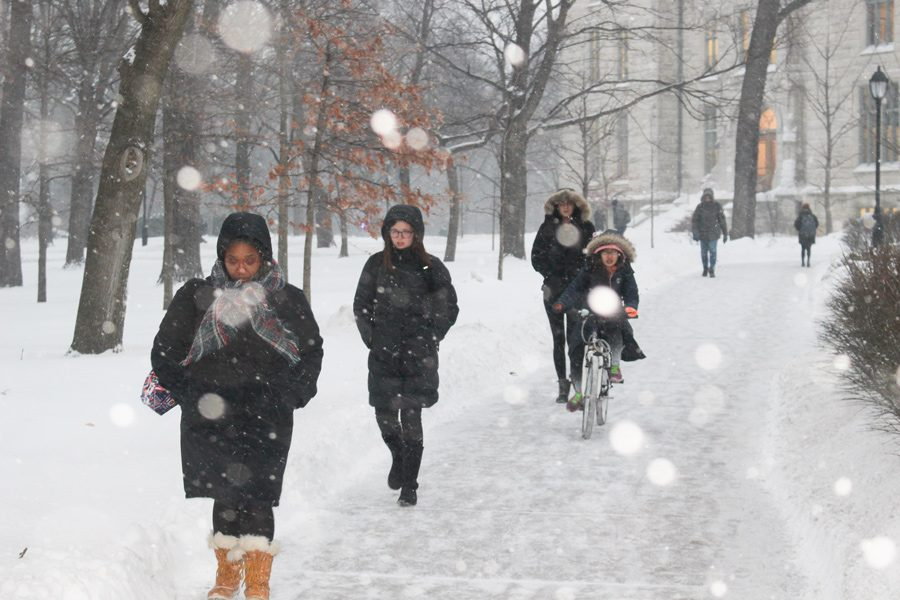 Students bundle up for the winter. For low-income students, Student Enrichment Services offers winter gear to stay warm during the harsh elements