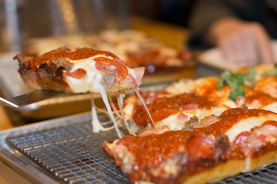 Pizza from Union Squared Evanston, 1307 Chicago Ave. The restaurant serves authentic Detroit-style pizza in a small but cozy space.