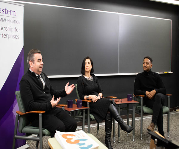 Jan and Brian Hieggelke speak in the Frances Searle Building at a Thursday event. The event was hosted by the Master of Science in Leadership for Creative Enterprises program and highlighted the Hieggelkes' careers in publishing and film.
