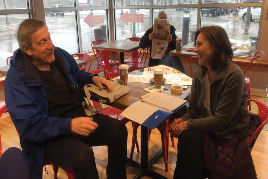 Karen McCormick, state Rep. Robyn Gabel's chief of staff, speaks with Wilmette resident John Plante at Gabel's office hours Saturday. North Shore constituents had the opportunity to voice their concerns and make proposals to the office of their state representative.