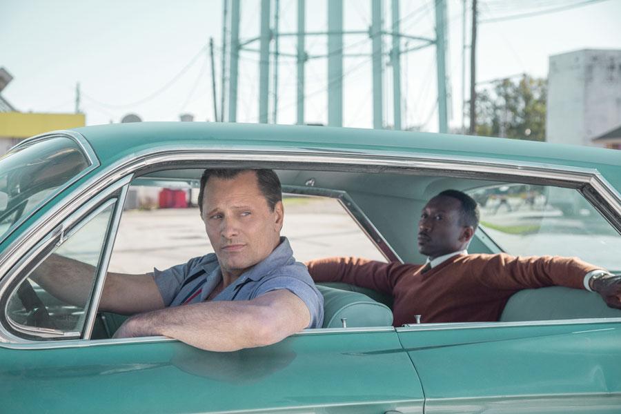 Viggo Mortensen as Tony Vallelonga and Mahershala Ali as Dr. Donald Shirley in