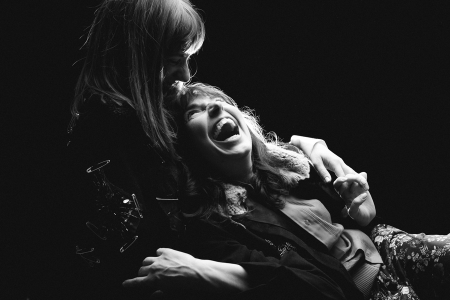 """Jamie Bragg and Heather Kae Smith play Oscar Wilde and Lord Alfred Douglas, respectively, in Promethean Theatre Ensemble's production of """"Gross Indecency."""" The play runs Feb. 15 through March 23 at Strawdog Theatre."""