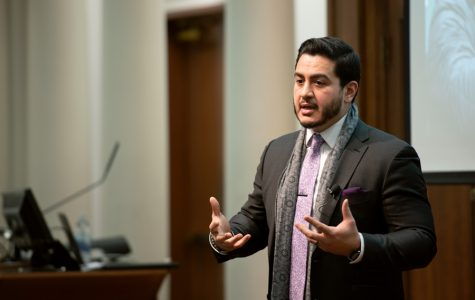 Abdul El-Sayed speaks to students at Harris Hall. El-Sayed said his faith taught him to seek justice.