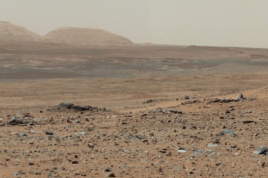 A view of the Martian surface as captured by NASA's Curiosity rover on July 24, 2013. A team of researchers at Northwestern are working to build a predictive model of group behavior to help NASA assemble a team for a three-year mission to Mars