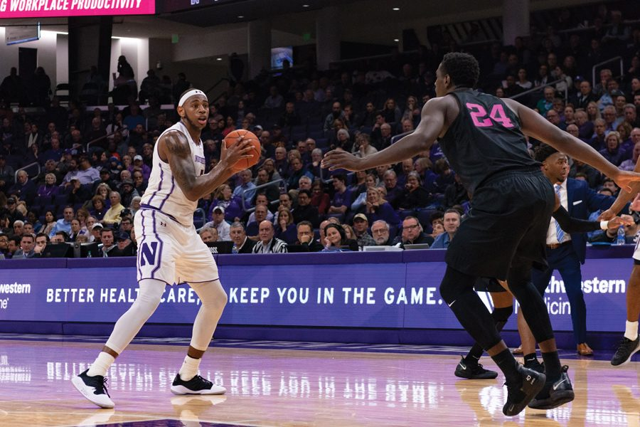 Dererk+Pardon+looks+to+make+a+play.+The+senior+center+had+another+strong+game+against+Penn+State%2C+but+the+Wildcats+came+up+short.