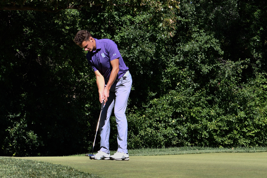 Ryan Lumsden lines up to put. He'll be in Northwestern's lineup in this weekend's tournament.