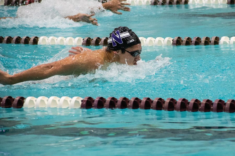 Justin+Hanson+swims+the+butterfly.+The+Wildcats+are+hoping+to+improve+on+last+year%E2%80%99s+ninth-place+finish+at+the+Big+Ten+Championships.