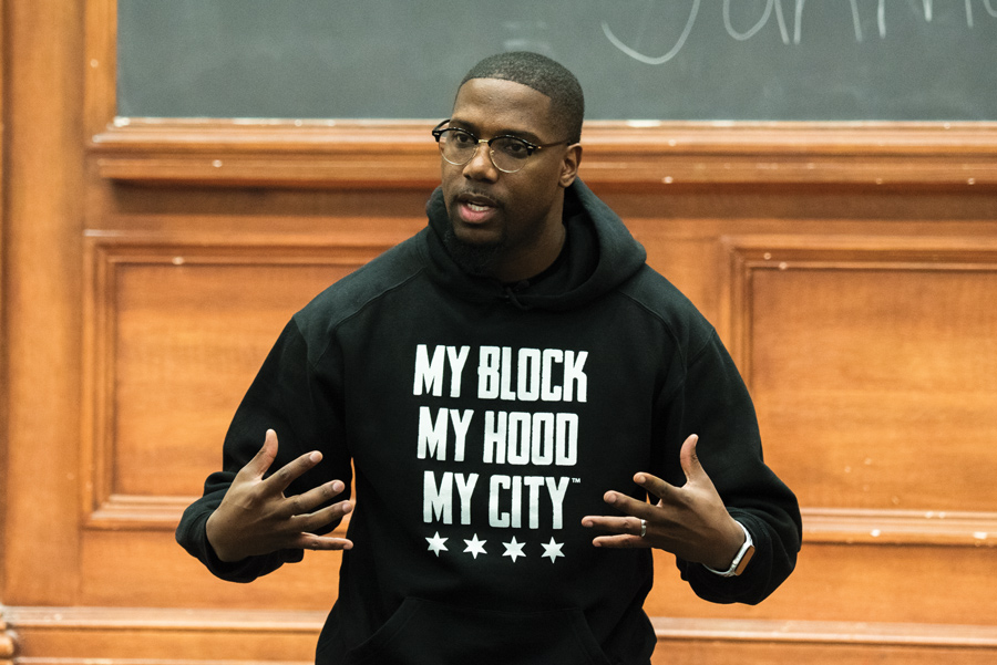 Jahmal Cole, the founder of civic education nonprofit My Block, My Hood, My City. Cole spoke about his experiences and the work of his nonprofit at a Wednesday event organized by Northwestern Community Development Corps.