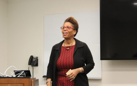 Medill Prof. Ava Thompson Greenwell speaks at a Tuesday event organized by the Office of Residential Academic Initiatives. Greenwell discussed the process of making her documentary about Chicago's anti-apartheid activism and its historical significance