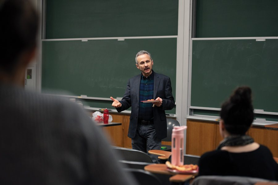 Psychology department chair Richard Zinbarg discusses controversial visiting scholar Satoshi Kanazawa on Wednesday. Zinbarg said that, under the department's revised vetting process, Kanazawa would have never been allowed on campus.