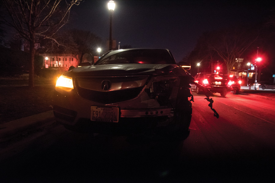 A crash at the intersection of Ridge Avenue and Lake Street in January 2018. The Evanston Police Department announced the number of crashes on Ridge Avenue decreased in 2018.