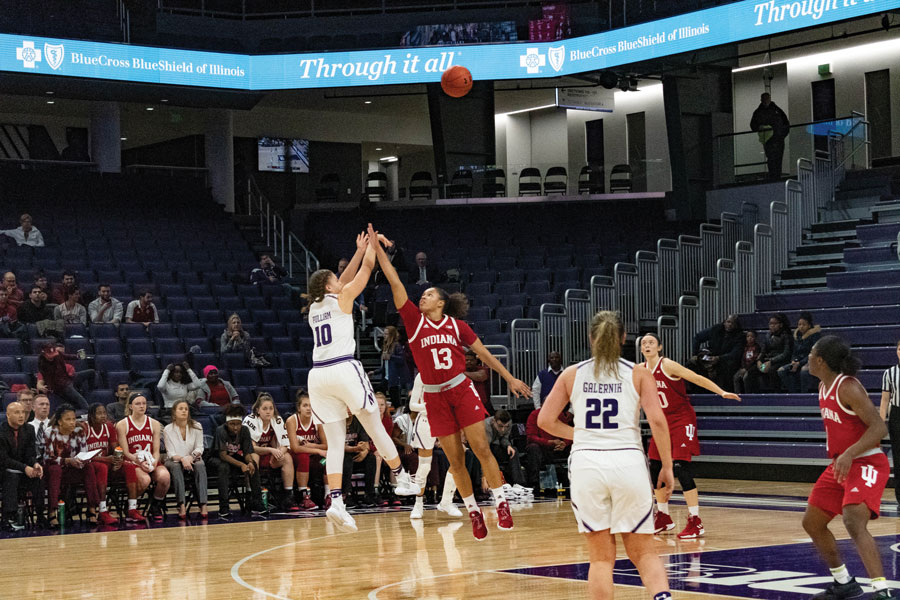 Lindsey Pulliam puts up a shot. The sophomore guard had 24 points in NU's win over Indiana.