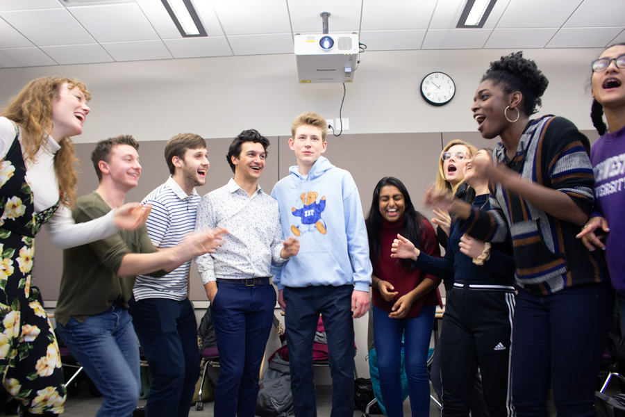 A cappella group Thunk rehearses for the SMILE Spring Showcase. Thunk is one of 16 acts performing in the showcase, which will take place throughout the first weekend of spring quarter.