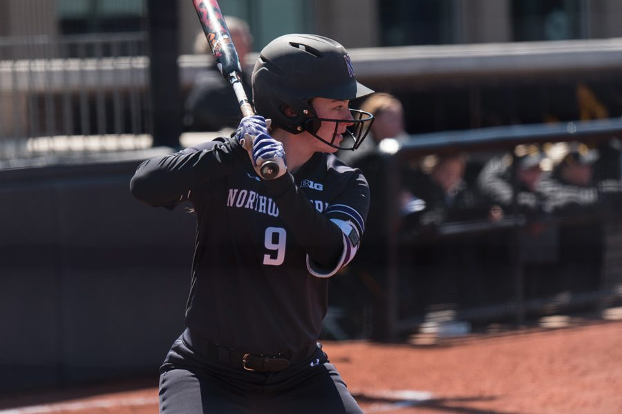 Lily Novak settles in at the plate. The Cats went 3-1 this weekend at the ACC/Big Ten Challenge.