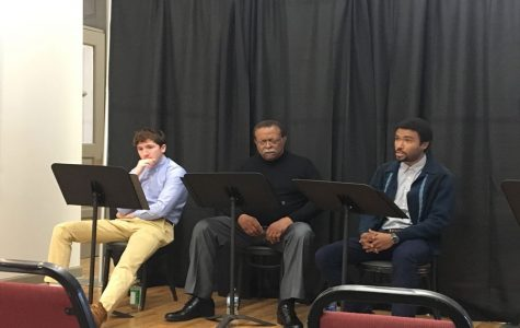 Community members discuss racism at play stage reading