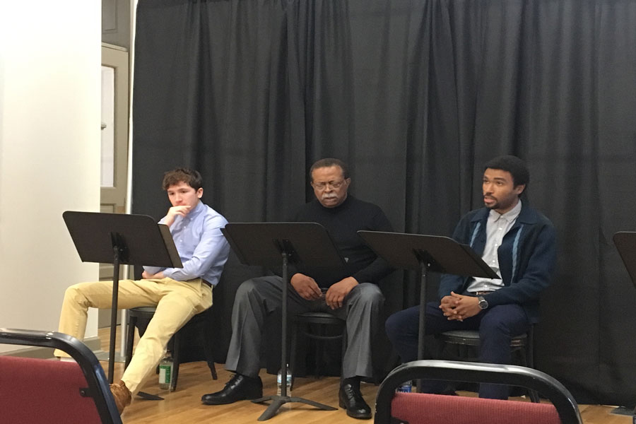"""Actors perform a stage reading of """"The Whipping Man,"""" a Civil War-era play, at the Noyes Cultural Arts Center. Following the performance, community members discussed how themes of oppression are still prevalent today."""