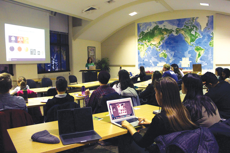 Northwestern students listen to speakers at The State of Sustainability in Scott Hall. The event featured updates from ASG, sustainNU and ISEN about sustainability initiatives on campus