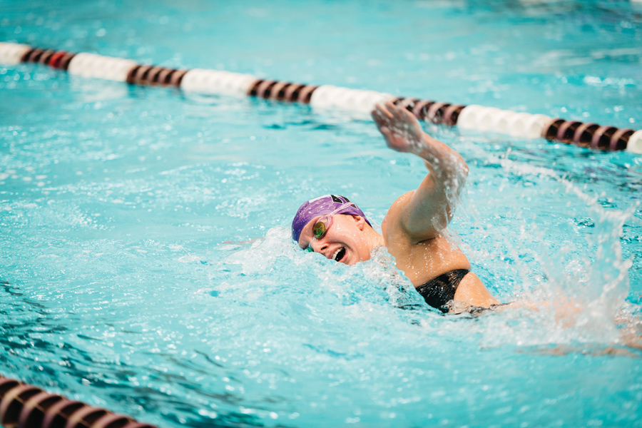 A Northwestern swimmer does freestyle. The Wildcats finished seventh at the Big Ten Championships for the third straight year