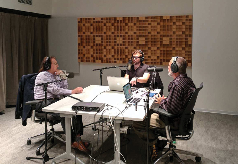 "Ryan Brady and Chris Mercer interview Denny Laine of Wings at NU in August 2017. Brady and Mercer co-host ""Take It Away: The Complete Paul McCartney Podcast."""