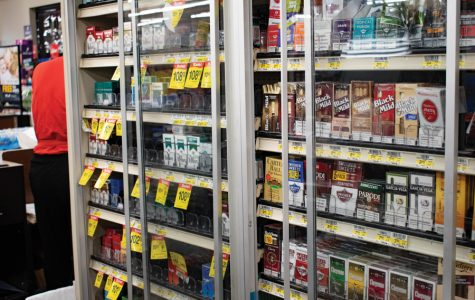 A store shelf filled with cigarettes. Illinois state legislators are revisiting the Tobacco 21 legislation, which would raise the minimum age to purchase tobacco products from 18 to 21