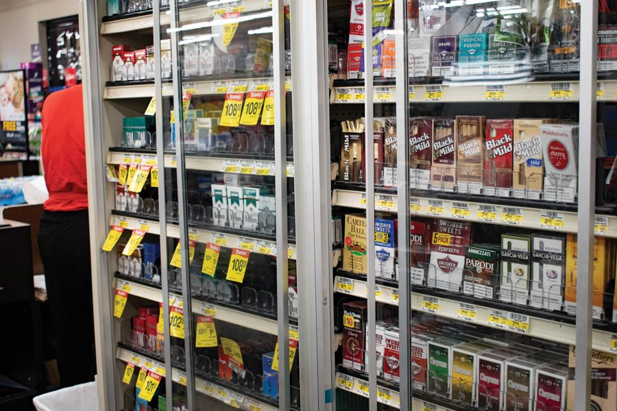 A+store+shelf+filled+with+cigarettes.+Illinois+state+legislators+are+revisiting+the+Tobacco+21+legislation%2C+which+would+raise+the+minimum+age+to+purchase+tobacco+products+from+18+to+21