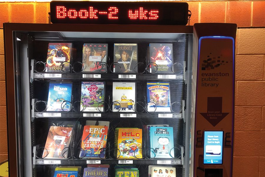 "The Evanston Public Library's ""book lending machine"" at the Robert Crown Community Center, 1701 Main St. The machine allows library card holders to borrow books and movies."