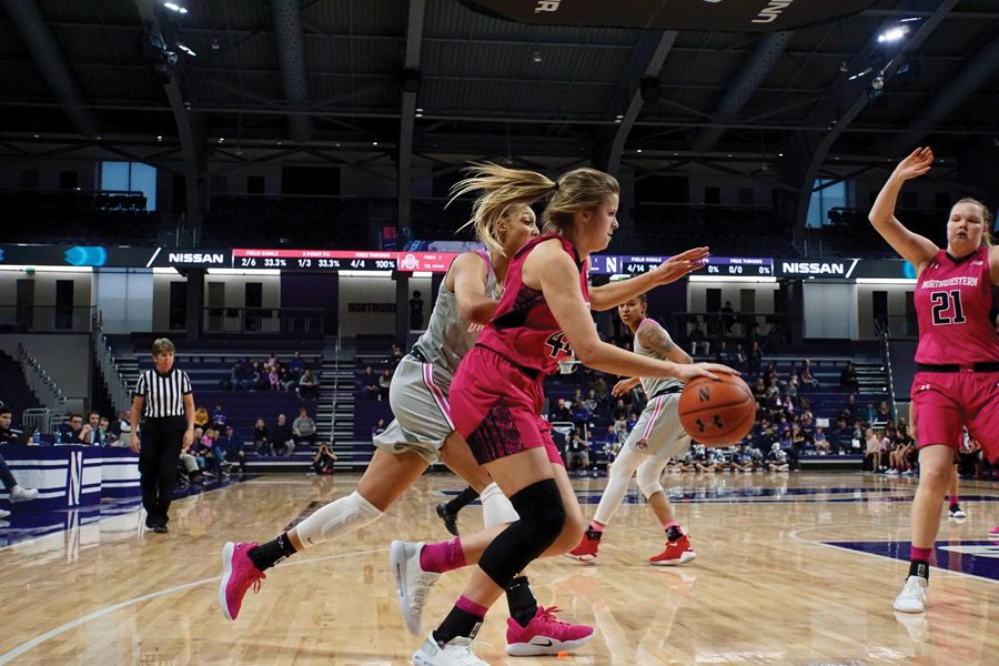 Abi+Scheid+dribbles+the+ball.+The+junior+forward+didn%E2%80%99t+play+in+the+first+matchup+between+the+Cornhuskers+and+the+Wildcats.+
