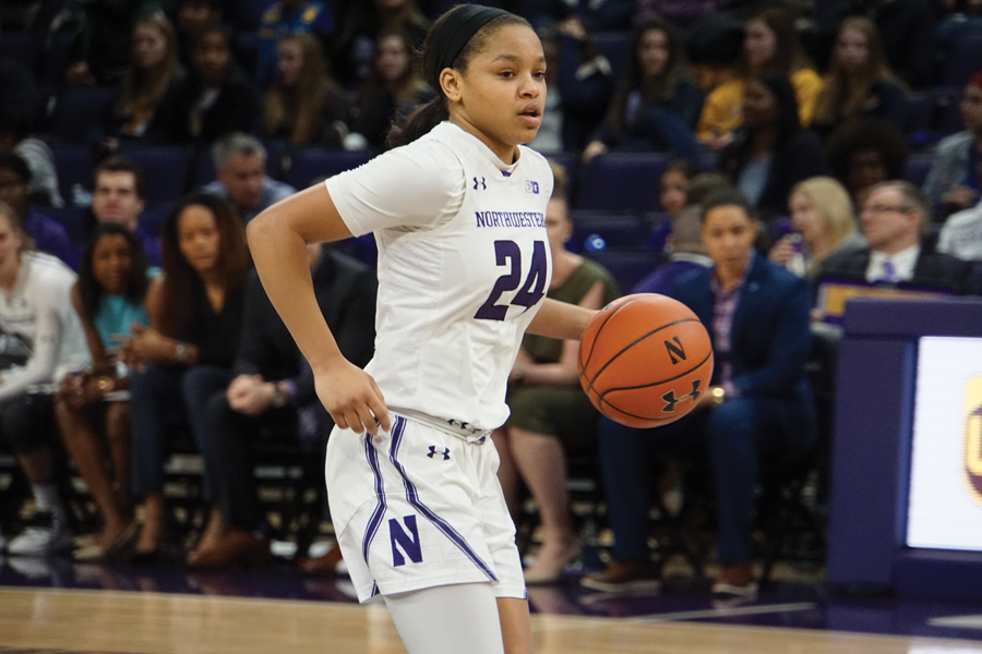 Jordan Hamilton does a dribble move. The sophomore guard will play her final home game of 2019 on Tuesday