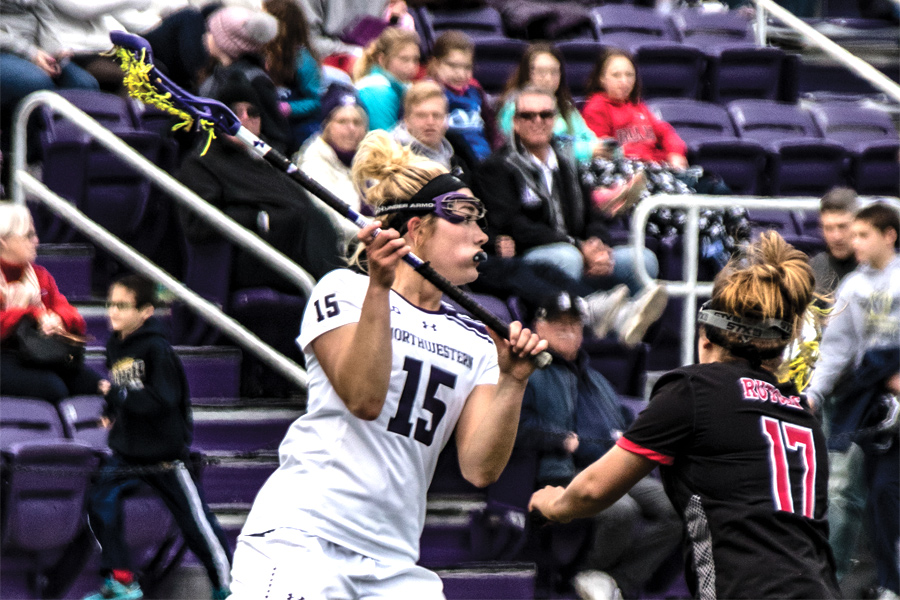 Jill Girardi holds the ball. Northwestern opens its season against Louisville on Friday.