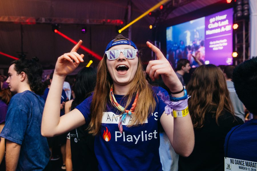 A dancer during Block 7 of Northwestern University Dance Marathon 2018. NUDM, which is often cited as one of the largest student-run philanthropy in the U.S., routinely donates seven-figure amounts to its chosen beneficiary every year.