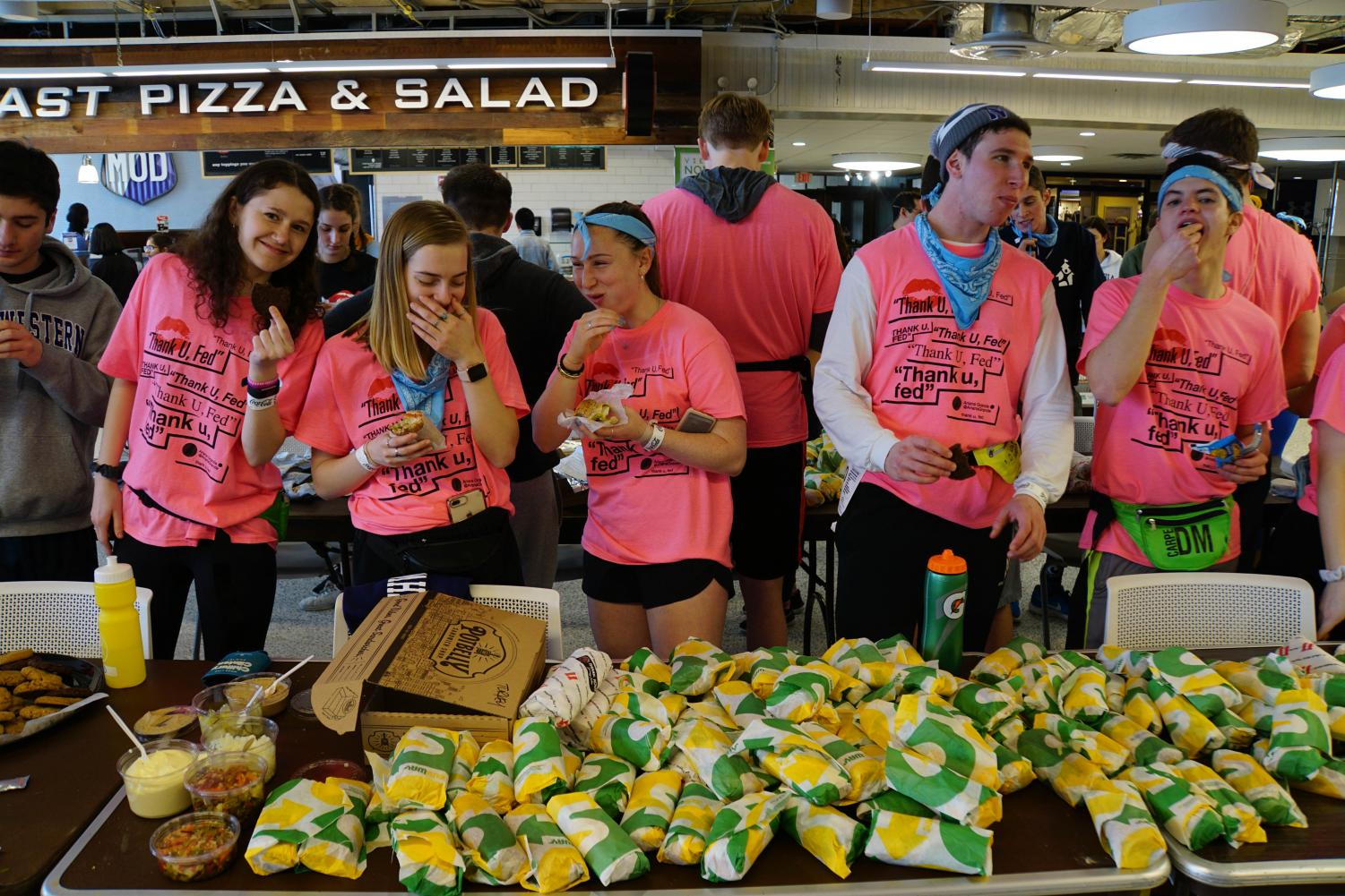 The food committee prepares to serve NU dancers. The committee serves a variety of snacks and meals during the 30 hours.