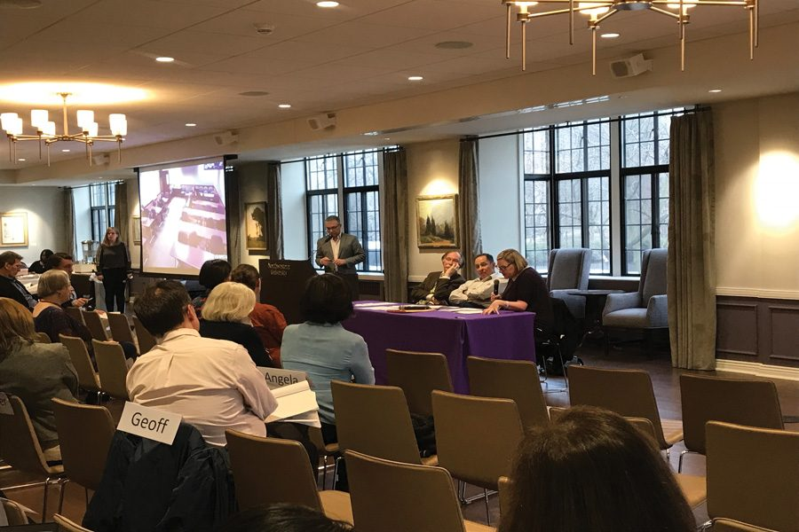 Richard Kieckhefer, Andrew Koppelman and Laura Beth Nielsen talk on a panel about the implications of academic freedom during Faculty Senate on Wednesday. The academic freedom statement in the Faculty Handbook is up for review this year.
