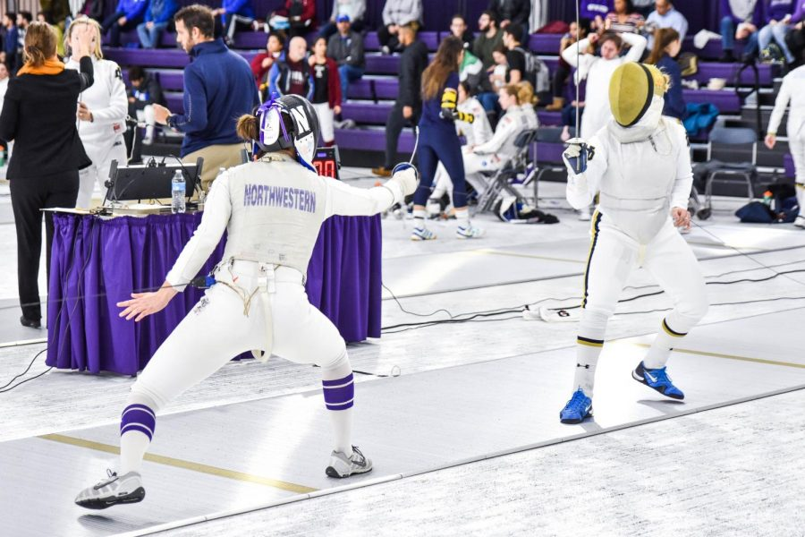 A+Northwestern+fencer+faces+off+with+her+opponent.+The+Wildcats+will+send+5+fencers+to+the+NCAA+Championships.+