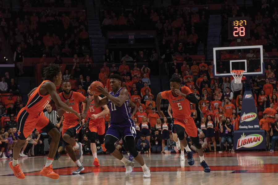 Anthony Gaines catches the ball in traffic. The sophomore guard scored 9 points on Sunday.