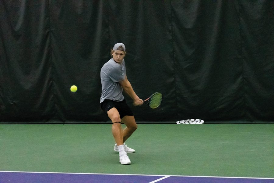 Simen Bratholm anticipates a backhand. The Wildcats lost to Indiana on Friday but came back to beat Louisville on Sunday