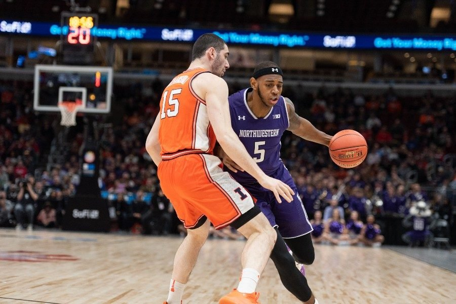 Dererk+Pardon+dribbles+the+ball+during+Northwestern%E2%80%99s+last+game+at+the+United+Center%2C+in+2019.+The+United+Center+is+slated+to+host+NCAA+Regionals+in+2022+and+2026.