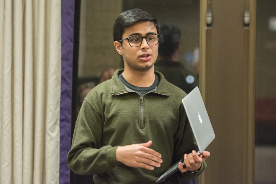 Maanas Bhatt, incoming vice president for student activities finances, speaks about the funding legislation at Wednesday's ASG senate meeting. The legislation will make the process easier for smaller groups to obtain funding, Bhatt said.