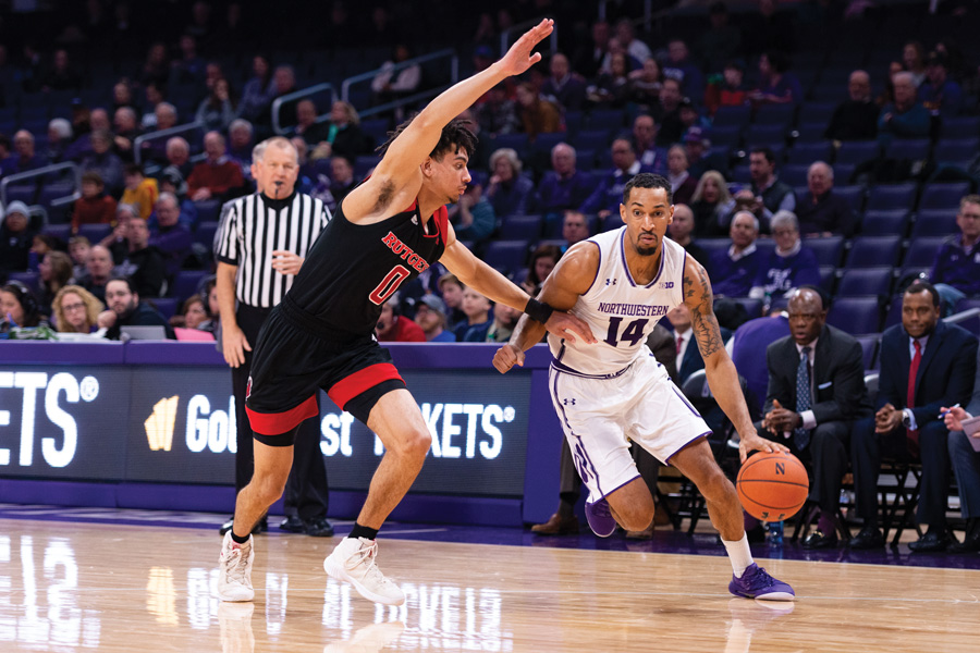 Ryan Taylor dribbles the ball. The graduate guard failed to score on Thursday.