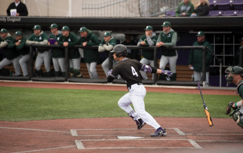 Alex Erro takes off for first base. Northwestern won its home opener Tuesday.