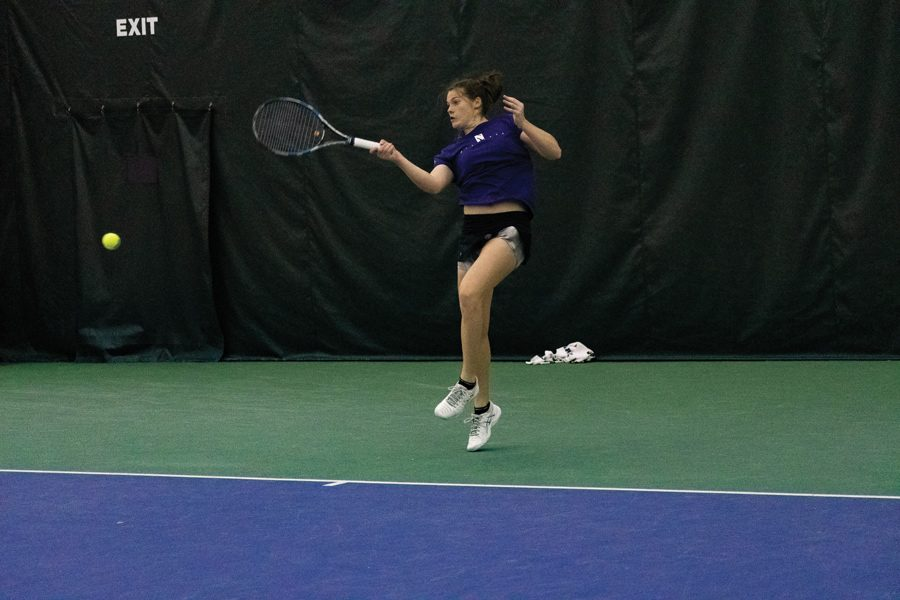 Julie+Byrne+strikes+a+forehand.+She+won+both+of+her+matches+against+Illinois+this+weekend