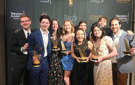 Members of The Blackout pose for a picture after winning the College Television Award in the Variety category. The award ceremony took place Saturday in Los Angeles.