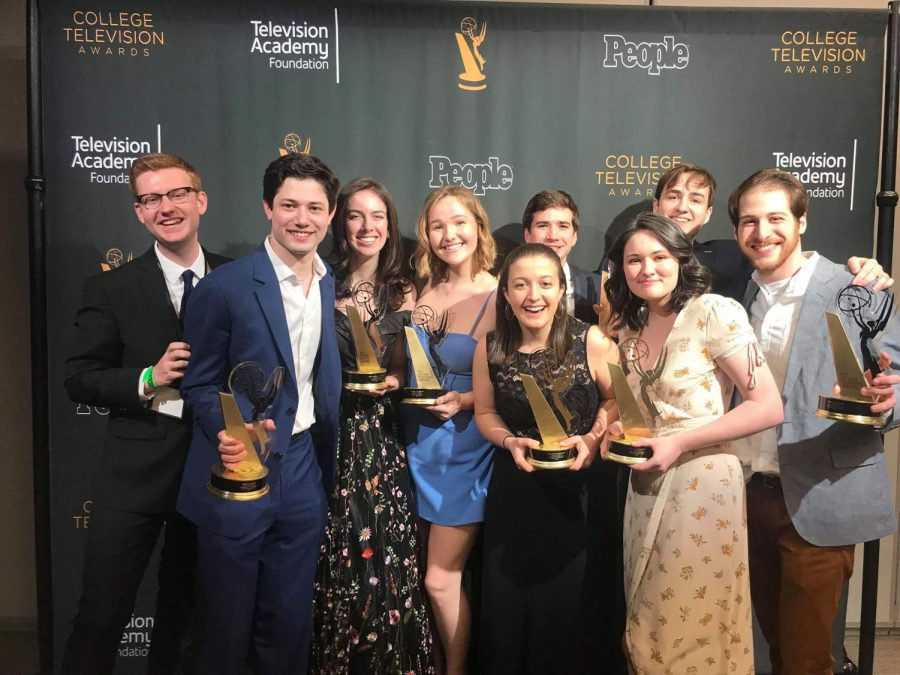 Members+of+The+Blackout+pose+for+a+picture+after+winning+the+College+Television+Award+in+the+Variety+category.+The+award+ceremony+took+place+Saturday+in+Los+Angeles.+