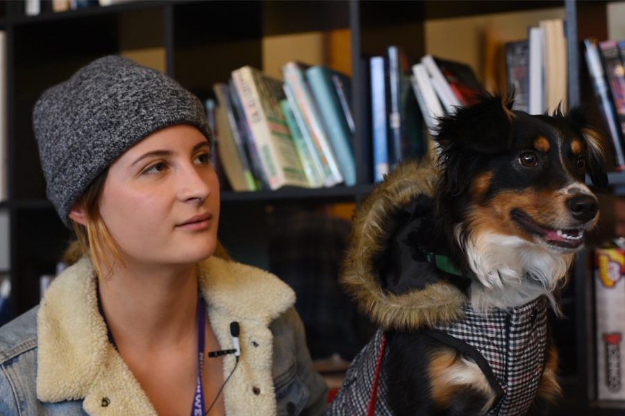 Weinberg+sophomore+Debra+Duval+and+her+emotional+support+dog+Xayah.+Duval+moved+off+campus+after+students+complained+about+her+dog.