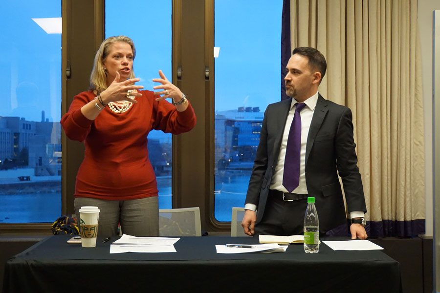 Julie Payne-Kirchmeier and Carlos Gonzalez. After speaking to ASG Senate about gender-open housing in February, the two were able to come back with news of the expansion on Wednesday.