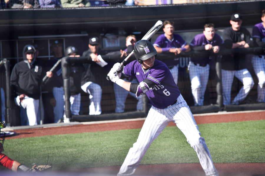 Shawn Goosenberg stands at the plate. The freshman scored the winning run in NU's 3-2 win over Michigan State this weekend.